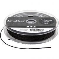 Cuerda de poliester, grosor 1 mm, negro, 50 m/ 1 rollo