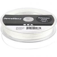 Cuerda de poliester, grosor 1 mm, blanco, 50 m/ 1 rollo