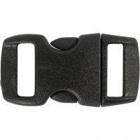 Cierre click, L. 29 mm, A: 15 mm, medida agujero 3x11 mm, negro, 4 ud/ 1 paquete
