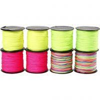 Cuerda de nylon, grosor 1 mm, verde neón, rosa neón, amarillo neón, neomix, 8x28 m/ 1 paquete