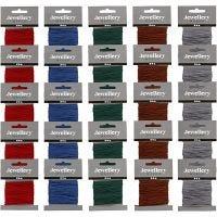 Cuerda de nylon, grosor 1 mm, surtido de colores, 5x5 paquete/ 1 paquete