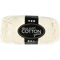 Lana de algodón, medida 8/8, L. 80-85 m, medidas maxi , crema, 50 gr/ 1 bola
