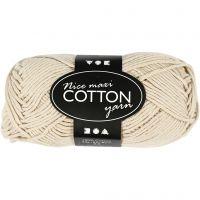 Lana de algodón, medida 8/8, L. 80-85 m, medidas maxi , beige, 50 gr/ 1 bola