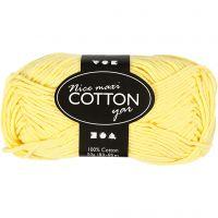 Lana de algodón, medida 8/8, L. 80-85 m, medidas maxi , amarillo, 50 gr/ 1 bola