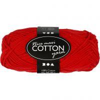 Lana de algodón, medida 8/8, L. 80-85 m, medidas maxi , rojo, 50 gr/ 1 bola