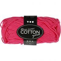 Lana de algodón, medida 8/8, L. 80-85 m, medidas maxi , rosa, 50 gr/ 1 bola