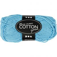 Lana de algodón, medida 8/8, L. 80-85 m, medidas maxi , turquesa, 50 gr/ 1 bola