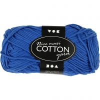Lana de algodón, medida 8/8, L. 80-85 m, medidas maxi , azul cobalto, 50 gr/ 1 bola