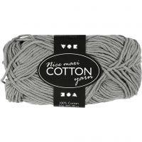 Lana de algodón, medida 8/8, L. 80-85 m, medidas maxi , gris, 50 gr/ 1 bola