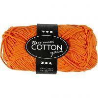 Lana de algodón, medida 8/8, L. 80-85 m, medidas maxi , naranja, 50 gr/ 1 bola