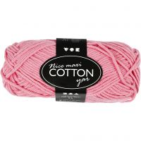 Lana de algodón, medida 8/8, L. 80-85 m, medidas maxi , rojo claro, 50 gr/ 1 bola