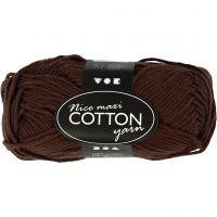 Lana de algodón, medida 8/8, L. 80-85 m, medidas maxi , marrón, 50 gr/ 1 bola