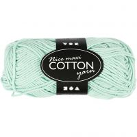 Lana de algodón, medida 8/8, L. 80-85 m, medidas maxi , verde claro, 50 gr/ 1 bola