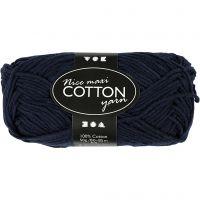 Lana de algodón, medida 8/8, L. 80-85 m, medidas maxi , azul oscuro, 50 gr/ 1 bola