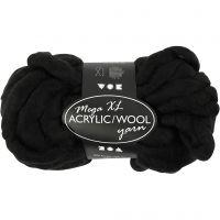Hilo grueso de acrílico/lana, L. 15 m, medidas mega , negro, 300 gr/ 1 bola