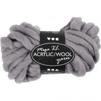 Hilo grueso de acrílico/lana, L. 15 m, medidas mega , gris, 300 gr/ 1 bola