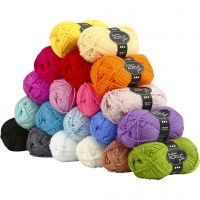 Fantasia lana acrílica, L. 80 m, surtido de colores, 20x50 gr/ 1 paquete