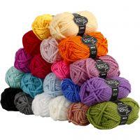 Fantasia lana acrílica, L. 35 m, medidas maxi , surtido de colores, 20x50 gr/ 1 paquete