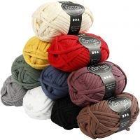 Lana tubular de algodón, L. 45 m, surtido de colores, 10x100 gr/ 1 paquete