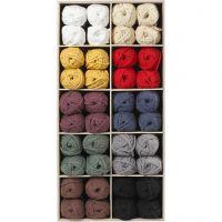 Lana tubular de algodón, L. 45 m, surtido de colores, 100 bola/ 1 paquete