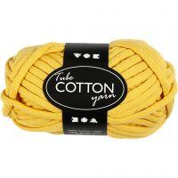 Lana tubular de algodón, L. 45 m, amarillo, 100 gr/ 1 bola