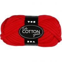 Lana tubular de algodón, L. 45 m, rojo, 100 gr/ 1 bola