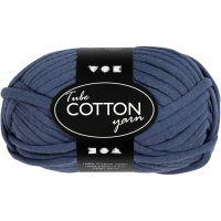 Lana tubular de algodón, L. 45 m, azul oscuro, 100 gr/ 1 bola