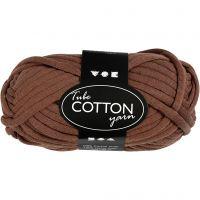 Lana tubular de algodón, L. 45 m, marrón, 100 gr/ 1 bola