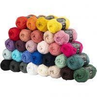 Hilo de algodón, medida 8/4, L. 170 m, surtido de colores, 30x50 gr/ 1 paquete