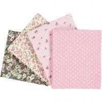 Tela para Patchwork, medidas 45x55 cm, 100 gr, rosado, 4 ud/ 1 paquete