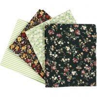 Tela para patchwork, medidas 45x55 cm, 100 gr, verde, 4 ud/ 1 fajo