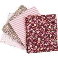 Tela para patchwork, medidas 45x55 cm, 100 gr, rosado, 4 ud/ 1 fajo