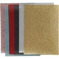 Foil para planchar, 148x210 mm, purpurina, surtido de colores, 6 hoja/ 1 paquete