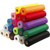 Fieltro para manualidades, A: 45 cm, grosor 1,5 mm, 180-200 gr, surtido de colores, 20x5 m/ 1 paquete