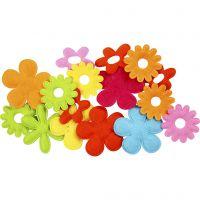 Flores de fieltro, medidas 35x45 mm, 16 ud/ 1 paquete