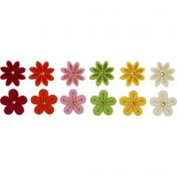 Flores de fieltro, dia: 30 mm, 12 ud/ 1 paquete