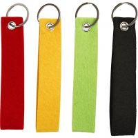 Llavero, medidas 3x15 cm, negro, verde, rojo, amarillo, 4 ud/ 1 paquete