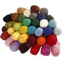 Surtido de lana cardada, surtido de colores, 35x100 gr/ 1 paquete