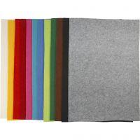Fieltro para manualidades, 42x60 cm, grosor 3 mm, surtido de colores, 12 hojas stdas/ 1 paquete