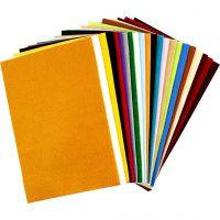Fieltro para manualidades, 20x30 cm, grosor 1,5 mm, 180-200 gr, surtido de colores, 24 hojas stdas/ 1 paquete