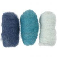 Lana cardada, azul harmonía, 3x10 gr/ 1 paquete