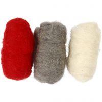 Lana cardada, rojo / blanco, 3x10 gr/ 1 paquete