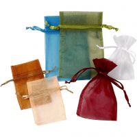 Bolsas de organza, medidas 7x10+10x15 cm, surtido de colores, 30 ud/ 1 paquete