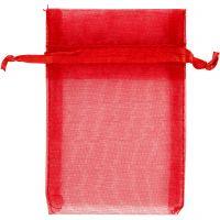 Bolsas de organza, medidas 7x10 cm, rojo, 10 ud/ 1 paquete