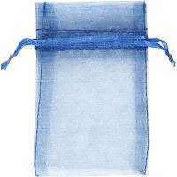 Bolsas de organza, medidas 7x10 cm, azul, 10 ud/ 1 paquete