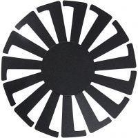 Plantilla para cesta tejida, A: 8 cm, dia: 14 cm, negro, 10 ud/ 1 paquete
