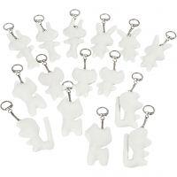 Figuras de tela con llavero, medidas 6-10 cm, blanco, 15 ud/ 1 paquete