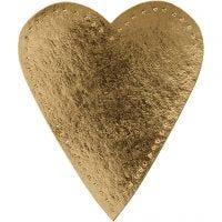 Corazón, A: 12 cm, A: 10 cm, 350 gr, dorado, 4 ud/ 1 paquete