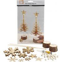 Árboles de Navidad de cuero sintético, grosor 0,55 mm, dorado, 1 set