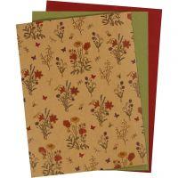 Papel imitación cuero, 21x27,5+21x28,5+21x29,5 cm, grosor 0,55 mm, una cara de color,impresa, natural, verde, rojo, 3 hoja/ 1 paquete